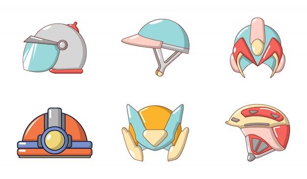 Helm pictogrammenset. beeldverhaalreeks helm vectorpictogrammen geplaatst geïsoleerd