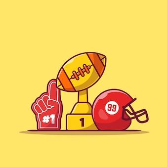 Helm, rugbybal-trofee en grote sporthandschoen