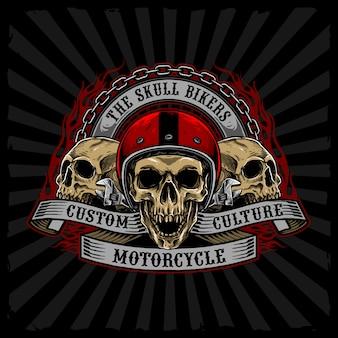 Helm schedels biker vector