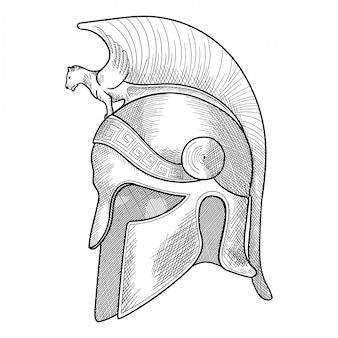 Helm van de oude griekse krijger hopliet met een nationaal meander ornament.