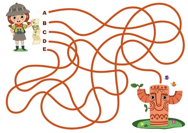 Help archeoloog meisje om de totem vectorillustratie doolhofspel te bereiken