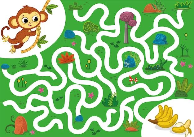 Help de aap aan rijke bananen vectorillustratie-puzzelspel voor kinderen