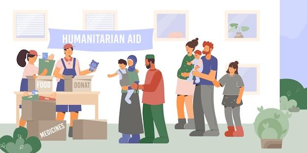 Help de arme gezinssamenstelling met een landschap in de buitenlucht en een groep vrijwilligers die humanitaire hulp geven