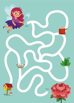 Help de fee om het bloemendoolhofspel voor kinderen te rijken vectorillustratie