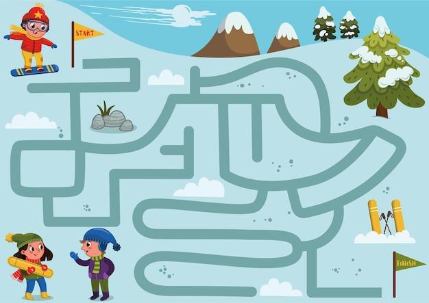 Help de jongen om een juiste weg de heuvel af te vinden om vrienden te ontmoeten labyrinth-spel voor kinderen
