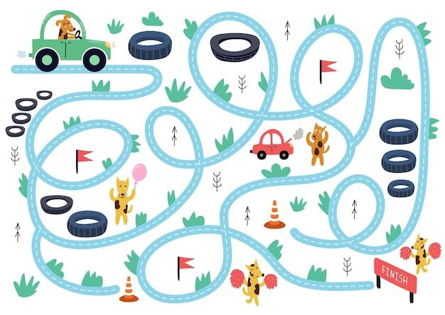 Help de schattige hond om de maze-puzzel voor kinderen te voltooien autorace-activiteitenpagina met grappige dieren minigame
