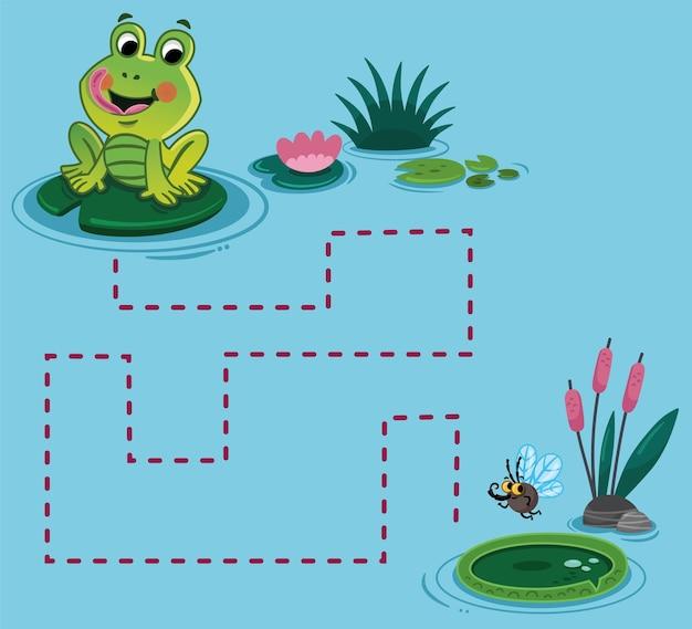 Help de schattige kikker om het andere lelieblad op de vijver te bereiken van punt naar punt oefening voor kinderen