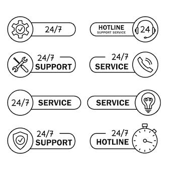 Help en ondersteuning hotline pictogrammen. online technische ondersteuning. concept illustratie voor hulp, callcenter, virtuele helpservice. concept van overleg. bewerkbare streek. online assistent. vector
