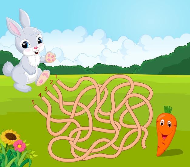 Help het konijntje om wortel te vinden in het doolhof.