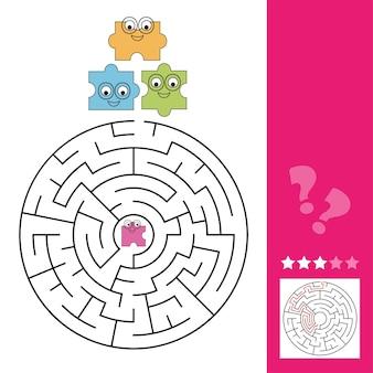 Help het puzzelstuk om de weg naar de puzzel te vinden, doolhofspel voor kinderen, inclusief antwoord