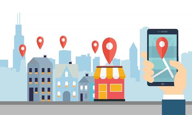 Help klanten lokale bedrijfsconceptenillustratie te vinden