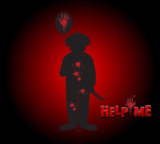 Help me-logo met griezelig clownsilhouet