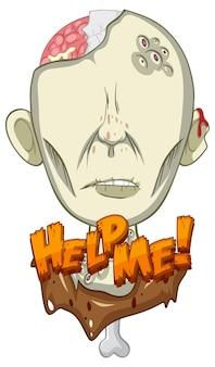 Help me tekstontwerp met griezelige zombie