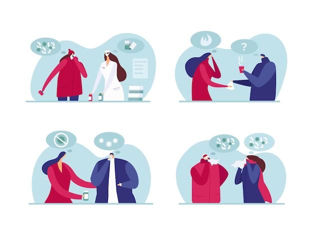 Help mensen met ziekte, vectorillustratie. man vrouw mensen karakter met griep, dokter helpt plat zieke patiënt met griep. alle mensen geven om elkaar, behandeld met medicijnen.