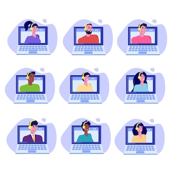 Helpdesk, avatars van callcenteradviseurs. klantenservice concept.