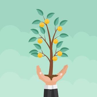 Helpende hand. geldboom, financieel de groei vlak concept