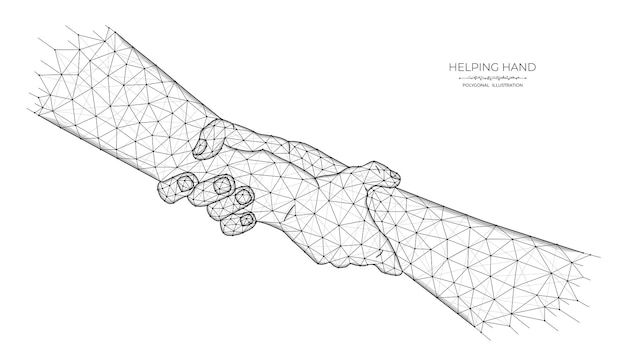 Helpende hand low poly kunst. veelhoekige illustratie van menselijke handen die elkaar vasthouden.