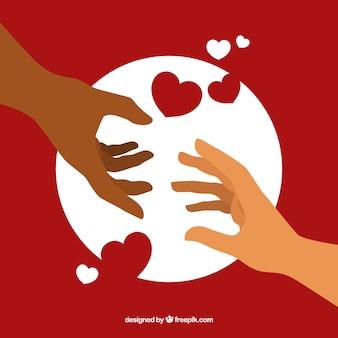 Helpende hand met hartenachtergrond in vlakke stijl