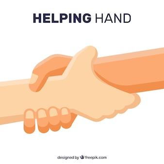 Helpende hand om achtergrond in vlakke stijl te steunen