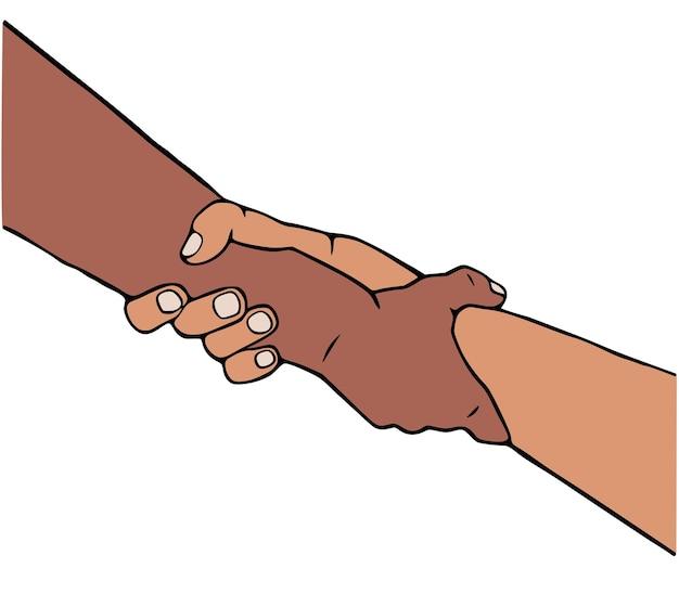 Helpende hand vectorillustratie in cartoon-stijl.