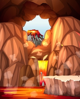 Helse grot met lavascène
