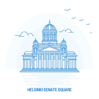 Helsinki senate square blue landmark