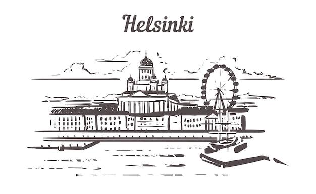 Helsinki skyline hand getrokken