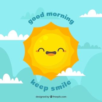 Hemel achtergrond met gelukkig zon karakter