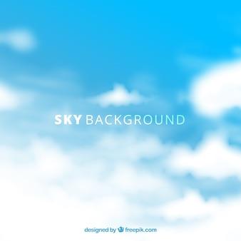 Hemel met wolkenachtergrond in vlakke stijl