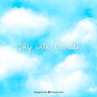 Hemel met wolkenachtergrond in waterverfstijl