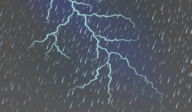 Hemelachtergrond met regen en donder
