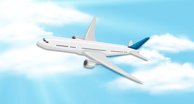 Hemelachtergrond met vliegtuig het vliegen