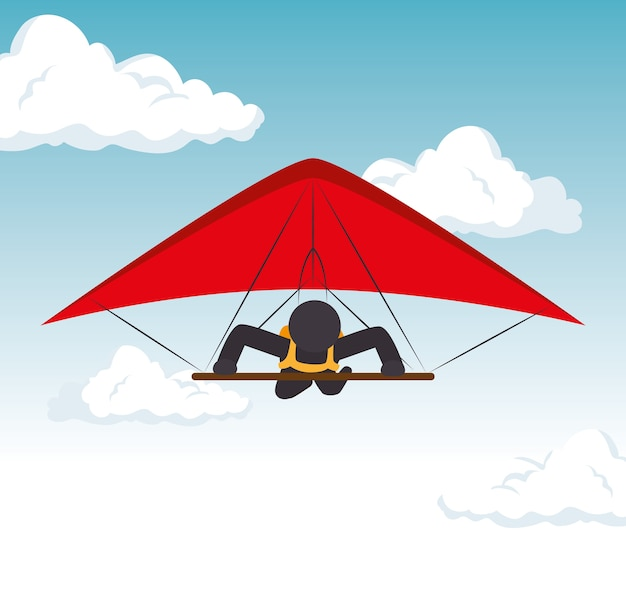 Hemelglijdende mens die extreme sport vliegt