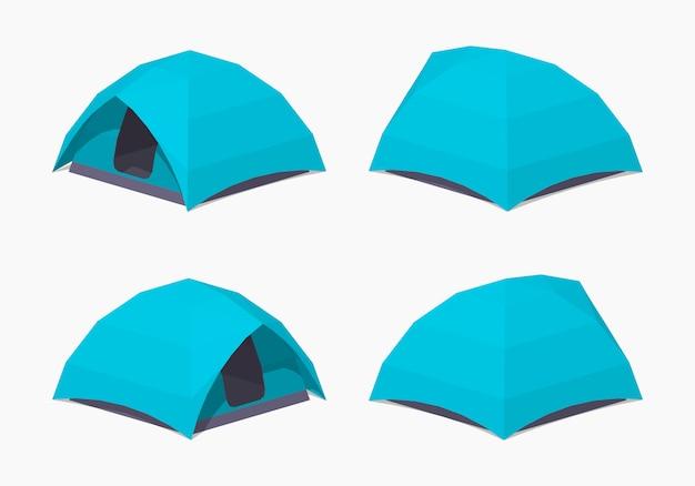 Hemelsblauwe 3d lowpoly isometrische campingtenten