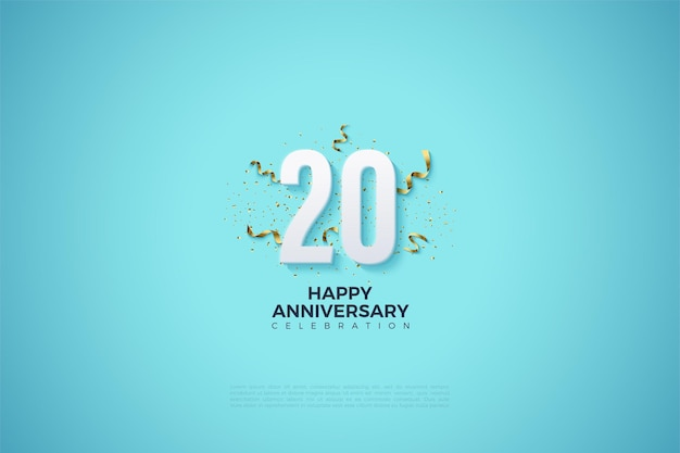 Hemelsblauwe achtergrond voor het 20e anivversary met 3d-nummers