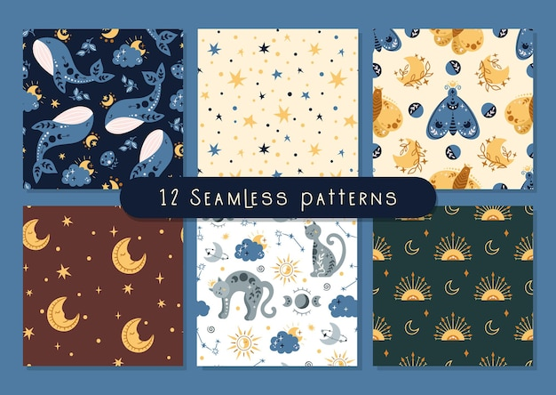 Hemelse boho naadloze patroon met ruimte walvis, vlinder, maan en sterren, hemelse hemel