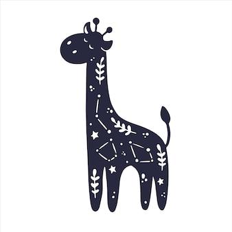 Hemelse dieren giraffesterren elementen geïsoleerd zwarte vormen dieren handgetekende print kids