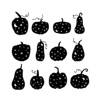 Hemelse en mystieke pompoenen met sterren en maan