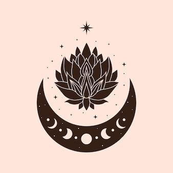 Hemelse illustratie lotus magische en mystieke kunst