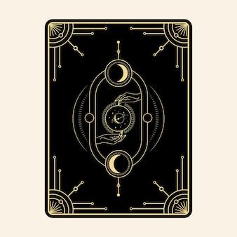 Hemelse magische tarotkaarten esoterische occulte spirituele lezer hekserij kristal handen oog symbolen