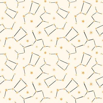 Hemelse naadloze patroon met sterrenbeelden.
