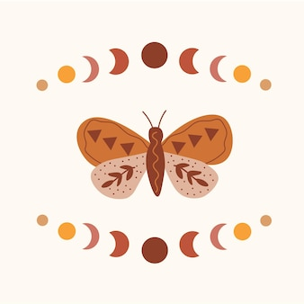 Hemelse zon maan vlinder dierenriem sterrenbeeld t-shirt grafisch ontwerp