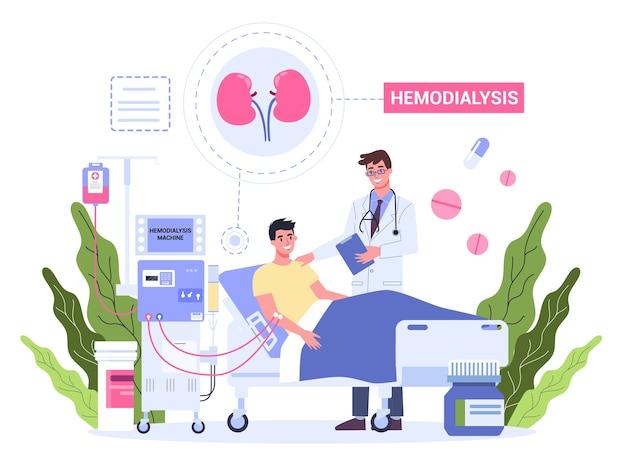Hemodialyse voor nierbehandeling. de mens krijgt een nierziekte-behandeling. patiënt in het ziekenhuis met arts die een interne injectie heeft.