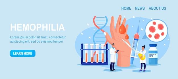 Hemofilie. kleine dokters onderzoeken de bloedstolling. hand met een bloedende, niet-genezen wond. arts behandelt de patiënt met bloedarmoede, bloedziekte. gedetailleerde test voor rode bloedcellen, bloedplaatjes