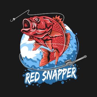 Hengel vis rode snapper visser kunstwerk vector