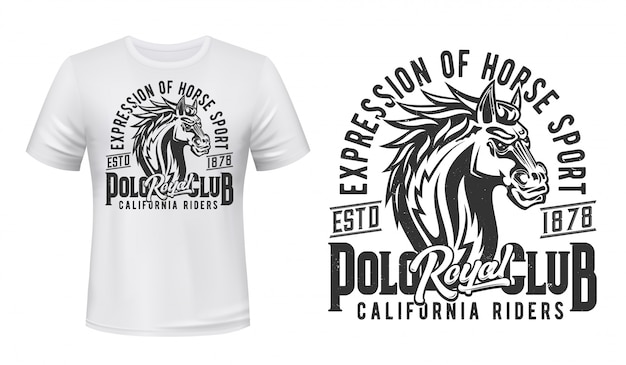 Hengst t-shirt, paardensport print, paardenrennen club. wild paard hengst of mustang, paarden rijden en paardenrennen california riders royal jockey polo club t-shirt print