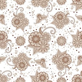 Henna elementen met stippen naadloze patroon