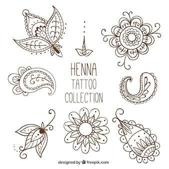 Henna tattoo studio, met de hand getrokken stijl