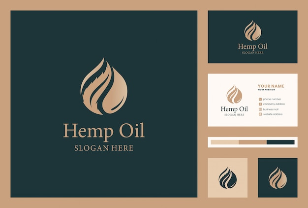 Hennep, cannabis, cbd, olie logo-ontwerp met visitekaartje