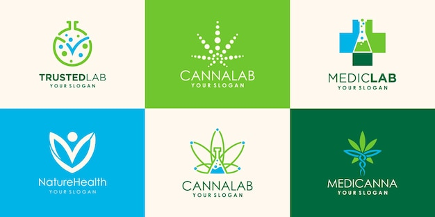 Hennep, cannabis-logo-ontwerp voor laboratorium- en medische bedrijven
